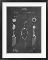 Framed Chalkboard Antique Spoon and Fork Patent