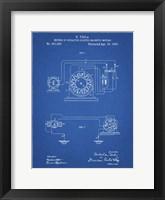 Framed Blueprint Tesla Operating Electric Motors Map Patent