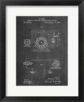 Framed Chalkboard Tesla Operating Electric Motors Map Patent