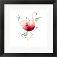 Framed Tropical Icons Flamingo