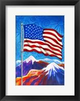Framed American Flag - Mountains