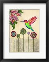 Framed Stick Flower Hummingbird