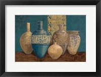 Framed Aegean Vessels on Turquoise