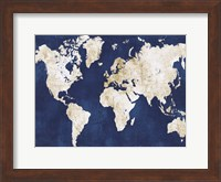 Framed World Map Navy Gold