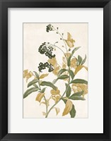Framed Green And Gold Flowers Two