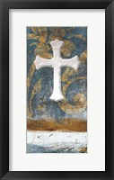Framed Cross On Blue