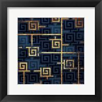 Framed Blue Gold Keys