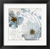 Framed Soft Floral Blue 1