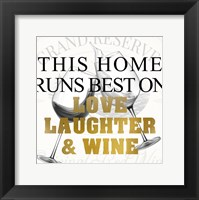 Framed Love Laughter and Wine