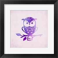 Framed Purple Pink Owl 1