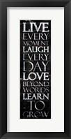 Framed Live Laugh Love Learn