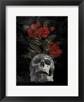 Framed Skull Red Flowers