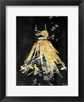Framed Gold Dress White Dots Two