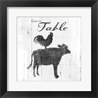 Framed Farm To Chicken Cow Grey