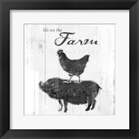 Framed Farm To Chicken Pig Grey