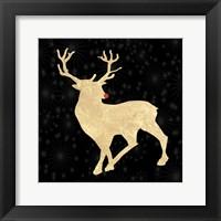 Framed Run Run Rudolph Gold Tone