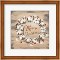 Framed Cotton Wreath Holiday