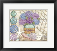 Framed Hydrangea & Seashells