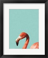 Framed Blue Flamingo