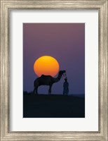 Framed Camel and Person at Sunset, Thar Desert, Rajasthan, India