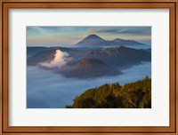 Framed Mt Bromo and Mt Merapi, East Java, Indonesia