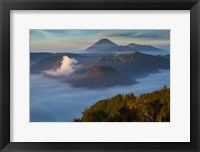 Framed Mt Bromo and Mt Merapi, East Java, Indonesia