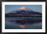 Framed Mt Fuji and Lake at sunrise, Honshu Island, Japan