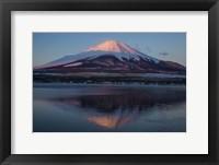 Framed Mt Fuji and Lake at sunrise, Honshu Island, Japan