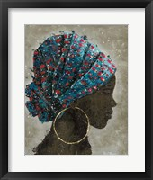 Framed Profile of a Woman I (gold hoop)