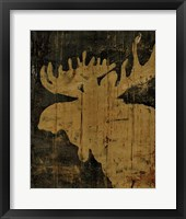 Framed Rustic Lodge Animals Moose