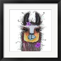 Framed Llama with Purple Flower