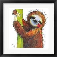 Framed Sloth with Red Flower