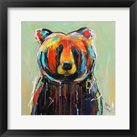 Framed Painted Black Bear