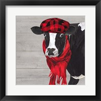Framed Intellectual Animals III Cow and Scarf