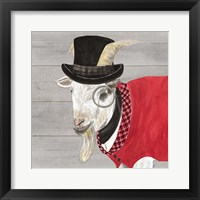Framed Intellectual Animals VI Goat with Hat