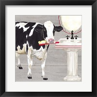 Bath time for Cows Sink Framed Print