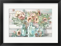 Framed Blush Poppies and Eucalyptus in bottles landscape