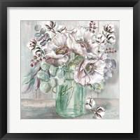 Framed Blush Poppies and Eucalyptus in Mason Jar