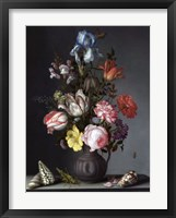 Framed Balthasar van der Ast, Flowers in a Vase with Shells and Insects