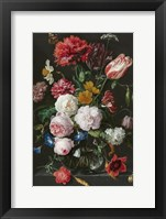 Framed Abraham Mignon, Still Life with Flowers in a Glass Vase