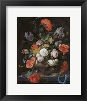 Framed Abraham Mignon, Still Life with Flowers and a Watch