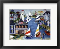 Framed Folk Art Sailing School Cheryl Bartley