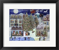 Framed Santa Christmas Village