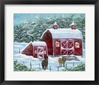 Framed Winter Horses by Red Barn