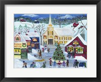 Framed Christmas Holiday Shopping Village