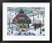Framed Snowy Maple Syrup Makers and Ice Skaters