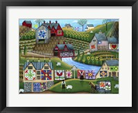 Framed Country Harvest Folk Art Quilt Farms