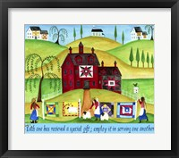 Framed Red Barn Quilt House