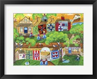 Framed Olde Tyme Village Quilt Maker