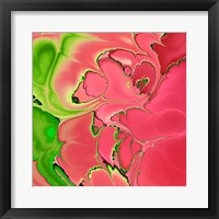 Framed Abstract Fractals Pink And Green